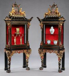 A Rare Pair of French Display Cabinets in the Chinoiserie Manner. . Circa 1870