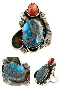 Turquoise Soul  . . .   Navajo Turquoise & Red Coral Ring Sterling Silver – Yourgreatfinds