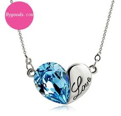 Heart Shape Love Letter Crystal Pendant Necklace|Fashion Necklaces - Jewelry&Accessories - ByGoods.com
