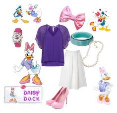 """Daisy Duck"" by thefrugal-fashionista ❤ liked on Polyvore featuring Glamorous, Kaliko, Sam Edelman, Swarovski, RoomMates Decor, Disney, Carolee, disney, DaisyDuck and disneycharacter"