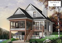 Discover the plan 6901 - The Cliffside 4 from the Drummond House Plans house collection. chalet style house plan, 3 bedrooms, fireplace, screened-in deck and open floor plan. Total living area of 1484 sqft. Lake House Plans, Basement House Plans, House Plans 3 Bedroom, House Plans And More, Modern House Plans, Small House Plans, Walkout Basement, Sims House Plans, Cottage Plan