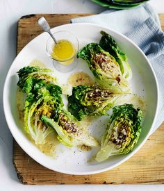Australian Gourmet Traveller recipe for grilled cos with lemon-anchovy butter dressing.