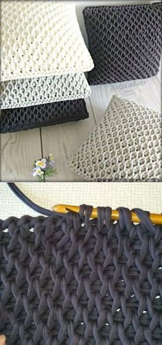 tunisian honeycomb stitch pillows in bulky or super bulky yarn