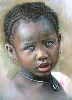 African Children Paintings By Dora Alis 20013 Pastel Portraits, Watercolor Portraits, African American Art, African Art, American Girl, African Children, Art Africain, Black Artwork, Afro Art