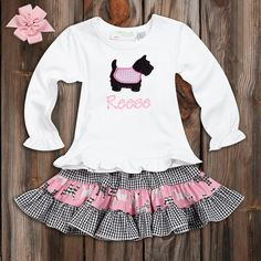 Black Gingham Pink Scottie Dog Twirl Skirt Set