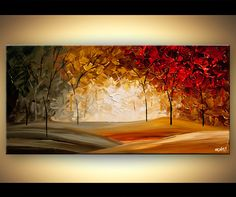 Original abstract art paintings by Osnat - modern abstract landscape blooming trees textured painting