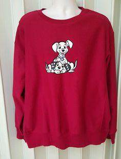 Disney Sweatshirt Red Size XXL Mens Dalmation Dogs  Fleece USA Seller B4-1347 #DisneyStore #SweatshirtCrew