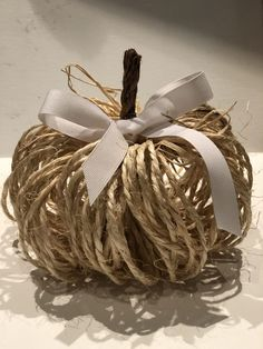 This easy to make Cute Rustic Twine Pumpkin is the one you need to decorate your home with this fall. Budget friendly home decor! Just That Perfect Piece Pumpkin Crafts, Diy Pumpkin, Fall Crafts, Holiday Crafts, Fake Pumpkins, Fabric Pumpkins, Fall Halloween, Halloween Crafts, Shabby Chic Fall