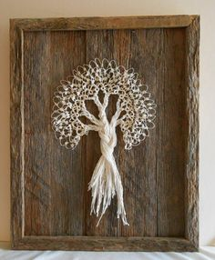 Tatted Lace Tree on Rustic Barn Wood Measuring 9 1/2 by filecutter, $129.00