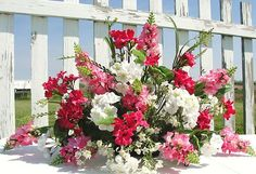 Pink Summer Snapdragons Geraniums Tombstone Saddle Cemetery Flowers Headstone | eBay