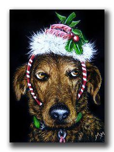NFAC NOV Dog ACEO Original Scratch Art SERIOUSLY Christmas Santa Elf Pet Puppy #Miniature