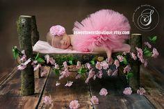 Sweet Sleeping Beauty Tutu Set Pink Tutu With Matching Headband Stunning Unique Newborn Photo Prop. $40.00, via Etsy.
