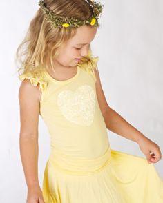 Bamboo frill top and full circle Twirl Skirt, in lemon Doodlebug summer 2014 www.ilovedoodlebug.com
