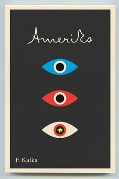 Amerika by F. Kafka - Alvin Lustig. Book cover, black background, red white and blue.