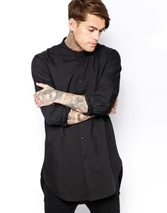 ASOS Smart Shirt In Long Line With Long Sleeves And Grandad Collar