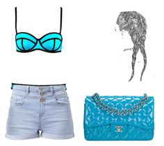 """bathing suit blue"" by kamaria-diani ❤ liked on Polyvore"