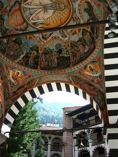 Rila Monastery    The most impressive monastery compound in Bulgaria of exceptional architectural and artistic merits. Founded in the 10th century, rebuilt in the 13th-14th century, a literary centre in the 15th century and completed in its present-day striking appearance during the 19thcentury. A spiritual centre of the Bulgarian people, it is located inthe Northwest part of the Rila Mountain, about 20 km from the town ofRila and about 120 km from Sofia. Bulgaria