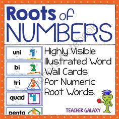Roots of Numbers Word Wall Cards from Teacher Galaxy on TeachersNotebook.com -  (10 pages)  - This is a set of ten word wall cards for pocket charts, literacy centers, and a quadrillion other uses!