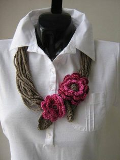 Shop for crochet on Etsy, the place to express your creativity through the buying and selling of handmade and vintage goods. Freeform Crochet, Crochet Stitches, Knit Crochet, Crochet Patterns, Crochet Ideas, Beau Crochet, Irish Crochet, Textile Jewelry, Fabric Jewelry