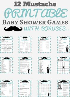 The mustache baby shower is finally here. If you are planning a mustache baby shower theme then these are the printable baby shower games for you. You can add to this theme with your very own mustache baby shower ideas.