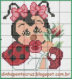 Bom dia!  Hoje uma joaninha baby veio enfeitar o nosso jardim: Butterfly Cross Stitch, Cute Cross Stitch, Cross Stitch Charts, Cross Stitch Patterns, Cross Stitching, Cross Stitch Embroidery, Pixel Crochet Blanket, Baby Patterns, Alpha Patterns