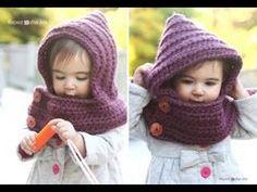 Capuchas de ganchillo. Crochet hooded cowl, scarf, scarves. - YouTube