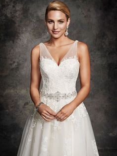 Style * BE254 * » Bridal Gowns, Wedding Dresses » Ella Rosa 2015 Collection » by Ella Rosa (Private Label By G) » Available Colours : Vintage/Silver, Ivory/Silver, White/Silver ~ Shown delicate Beadwork consisting of Swarovski Crystals & Beading at waist (close up)