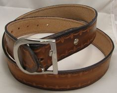 Belt+Hand+Tooled+Leather+Stitched+38+-+42