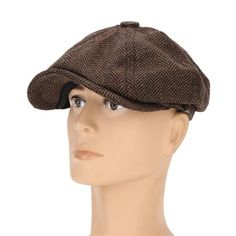 68112dee667 Men Visor Woolen Blending Newsboy Beret Capp.s. Outdoor Casual Winter  Cabbie Hat at