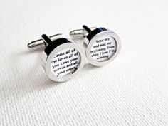 Paper Anniversary Custom Cufflinks Cuff Links Wedding Groom Vows Song First one Year Gift for Him