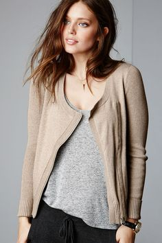 Play it cool. The moto sweater with a feminine edge.   Victoria's Secret