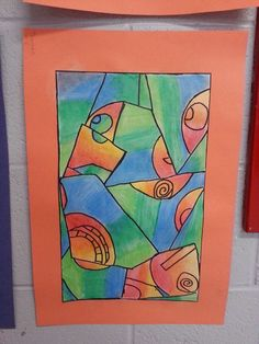 Oil pastels with warm color objects and cool color backgrounds