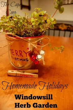 This adorable windowsill herb garden makes a great gift!