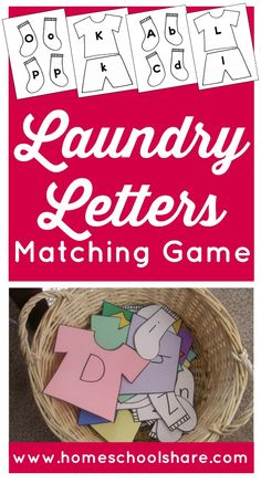 Laundry Letter Match; alphabet recognition and ABC matching game (match upper case and lower case letters) from Homeschool Share