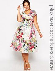 Truly You Floral Plunge Midi Dress