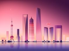Evening by Penny Gu - Dribbble City Illustration, Landscape Illustration, Digital Illustration, Affinity Designer, Scenery Wallpaper, Environment Concept, Computer Wallpaper, Graphic Design Inspiration, Photos