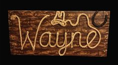 "32"" Western Children's Name Sign ~ Kids Room ~ Country Childs Room ~ Baby Nursery Gift ~ Cowboy Decor ~WAYNE ~Brown Wood Grain Finish- (002)"