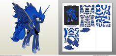 Papercraft .pdo file template for My little Pony - Princess Luna.
