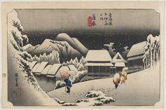 Night Snow at Kambara by Utagawa Hiroshige (c. 1833-1834) [2000×1334]