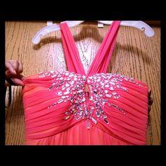 Davids Bridal Coral Embellished Prom Or Ball Dress