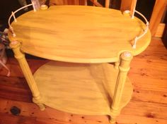 Yellow chalk painted serving cart with antique glaze.