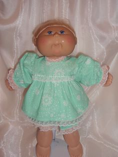 """16""""-18"""" Doll Clothes, Cabbage Patch Doll Clothes, Light Green Cotton Dress With…"""