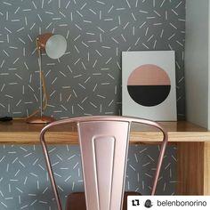 #Repost @belenbonorino ・・・ obra VM ❤️ rincón escritorio empapelado con Picnic 2 By Muresco diseño Confetti. Un espacio de trabajo y relax!…