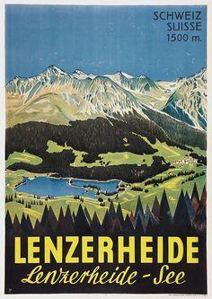Grisons Lenzerheide Vintage Ski Posters, Retro Poster, Fürstentum Liechtenstein, Vintage Banner, Swiss Travel, Tourism Poster, Travel Ads, Art Graphique, Vintage Advertisements