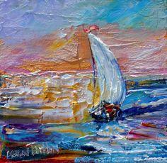 Sailboat Sunrise painting original oil 6x6 by Karensfineart