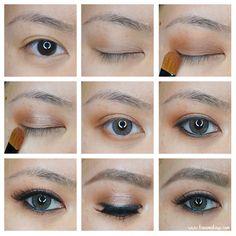 Brown Smokey Eye Makeup Tutorial using Makeup Geek Cocoa Bear and Makeup Geek foiled eyeshadow Grandstand as highlight in the center of the lid.- Kirei Makeup