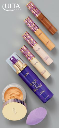 Tarte double duty beauty, at your service. The crazy popular shape tape concealer comes in new shades for concealing, highlighting and contouring perfection, and the empowered hybrid gel foundation acts like skincare--moisturizes with hyaluronic acid and repairs with vitamin C. Set your look or quench your skin's thirst anytime with Ready, Set, Radiant skin mist to hydrate and heal.