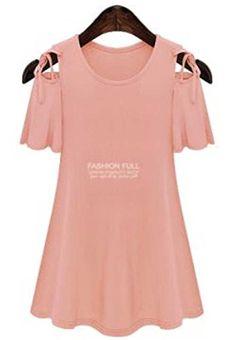 Fashion Bug Womens Plus Size Cotton Tops Sexy Open Shoulder Ruffle Sleeve Dress www.fashionbug.us #PlusSize #FashionBug