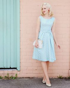 Pastel blue dress for ladies #vintage #look #FashionLook #romantic #fifties