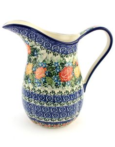 Pitcher in unique (unikat) pattern by Ceramika Artystyczna, Polish pottery